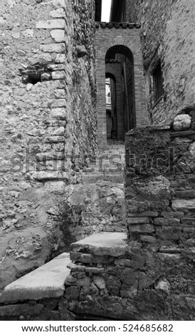 Village of Casperia in Italy - stone stairs