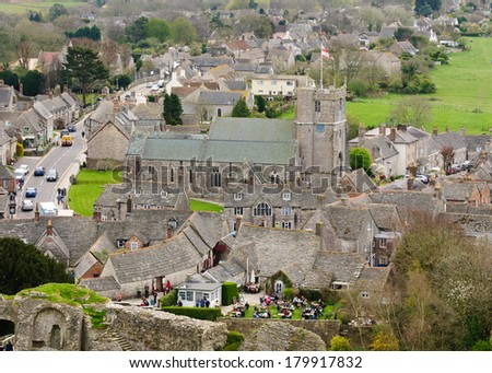Village of Corfe in Dorset, England from Corfe Castle