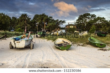 Village of fishermen at the early morning - stock photo