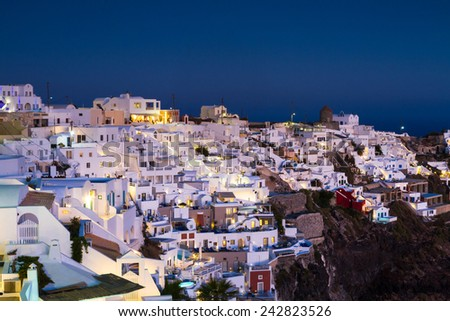 Village of Imerovigli at twilight, Santorini, Greece - stock photo