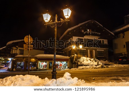 Village of Megeve on Christmas Eve, French Alps, France - stock photo