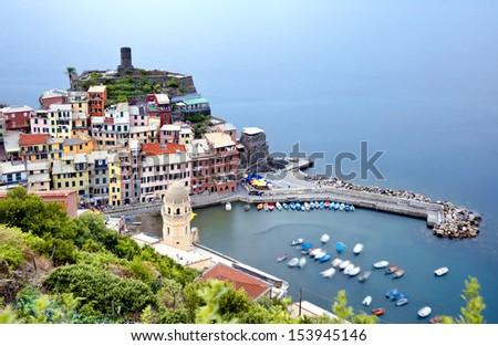 village of Vernazza, 5 terre, Italy - stock photo