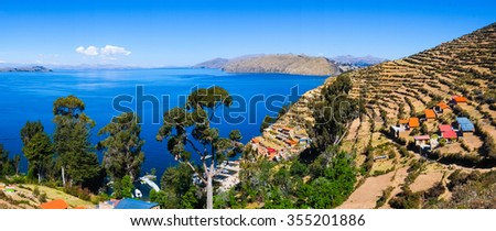 Village of Yumani on Isla del Sol, Lake Titicaca, Bolivia - stock photo