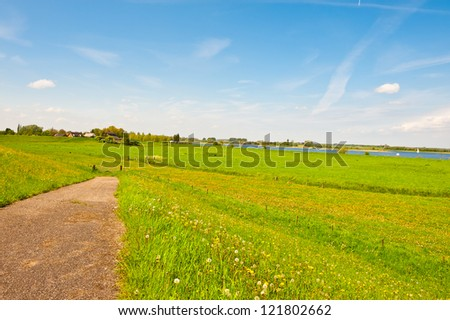 Village on Floodplain of the Rhine, Netherlands - stock photo