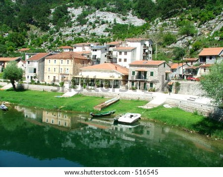 Village on the bank of river Rijeka Crnojevica, Montenegro