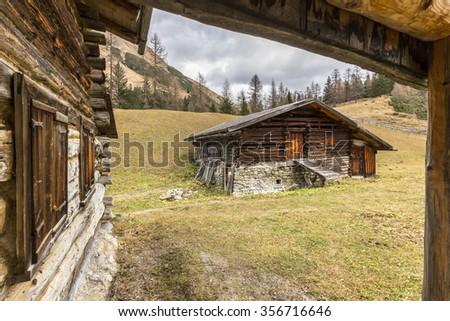village Pafflar in the European Alps in autumn - stock photo