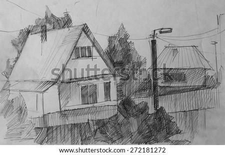 Village, pencil sketch - stock photo