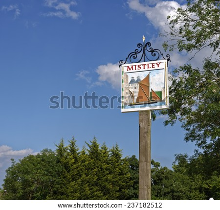 Village road sign for Mistley in Essex, England - stock photo