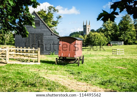 Village scene in Chawton Hampshire UK. Home of Jane Austen. Is this a scene Jane Austen would have walked past? - stock photo