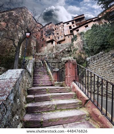 Village scenery.Albarracin,Spain.Old houses and architecture.Scenic village landscape - stock photo