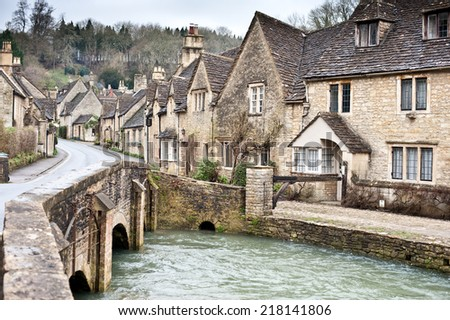 Village street in Cotswolds - stock photo