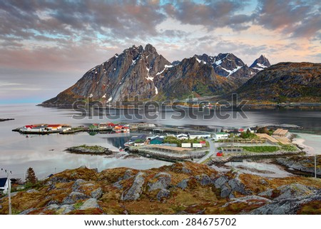 Village Sund in Norway at sunrise