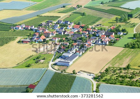 Village Unterlottenweiler  in Germany, aerial photography. There are a lot of solar panels on the roofs - stock photo