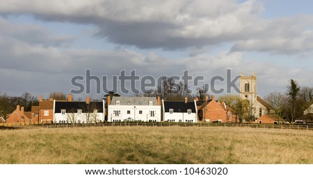 village with houses in countryside, barford on avon near stratford upon avon. - stock photo