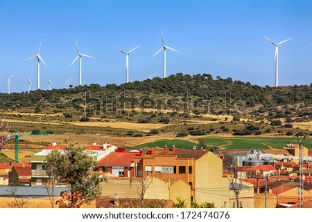 village with windmills wind power