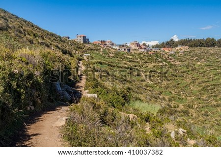 Village Yumani on Isla del Sol (Island of the Sun) in Titicaca lake, Bolivia - stock photo