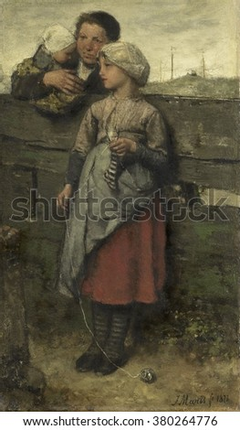 Villagers, by Jacob Maris, 1872, Dutch painting, oil on canvas. A girl, leans against a wooden fence, holding her knitting, while talking to a neighbor with a child on her arm. In the distance are shi