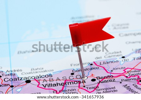 Villahermosa pinned on a map of Mexico  - stock photo