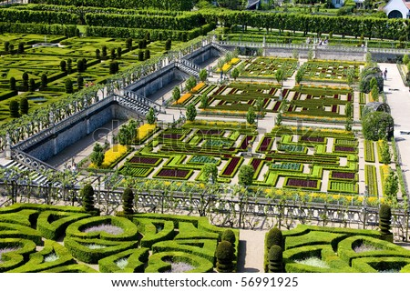 Villandry Castle's garden, Indre-et-Loire, Centre, France - stock photo