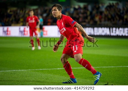 VILLARREAL, SPAIN - 28 APR: Roberto Firmino plays at the Europa League semifinal match between Villarreal CF and Liverpool FC at the El Madrigal Stadium on April 28, 2016 in Villarreal, Spain. - stock photo