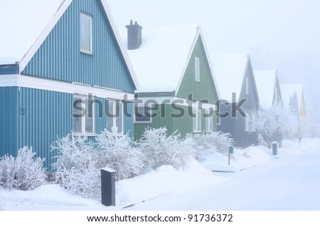Villas in a extremely cold and frosty winter conditions. - stock photo