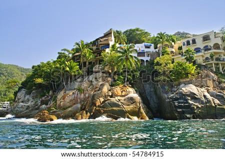 Villas on Pacific coast of Mexico near Puerto Vallarta - stock photo