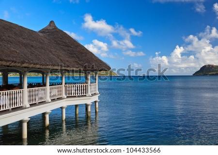 Villas on the tropical beach - stock photo