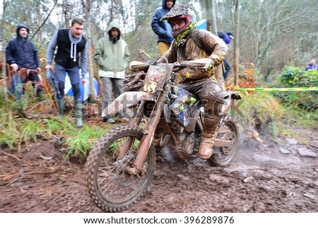 VILLAVICIOSA, SPAIN - MARCH 20:  Unidentified rider participate in  RFME Spain Championship Cross Country in March 20, 2016 in Villaviciosa, Spain. - stock photo