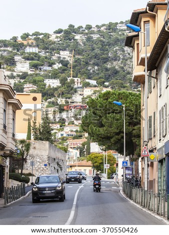 VILLEFRANCHE-SUR-MER, FRANCE, on JANUARY 8, 2016. The typical village in the Maritime Alps. Villefranche-sur-Mer - one of numerous resorts of French riviera, the suburb of Nice