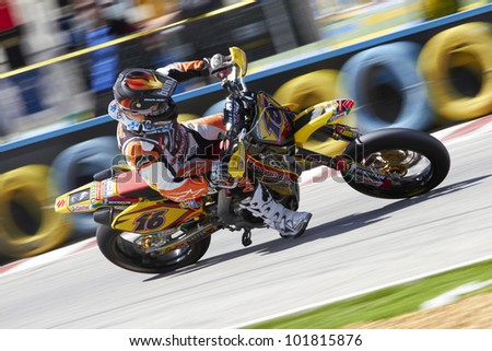 VILLENA, SPAIN - MAY 29: An unidentified pilot of motorcycling in the Spanish championship of supermotard on May 29, 2012, Villena Spain - stock photo