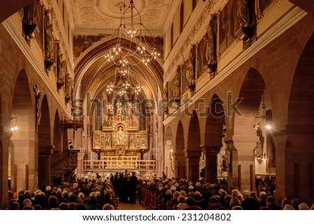 VILLINGEN, GERMANY - NOVEMBER 09 2014: Interior Picture of Villingen Cathedral in the German Black Forest. Lovely evening atmosphere