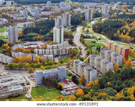 Vilnius city aerial view. Shot from television tower.