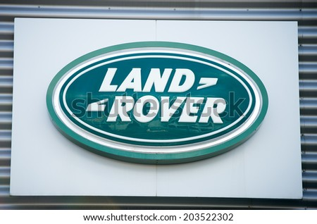 VILNIUS - JULY 6: Land Rover logo on July 6, 2014 in Vilnius, Lithuania. Land Rover is a brand of the British car manufacturer Jaguar Land Rover, which specialises in four-wheel-drive vehicles. - stock photo