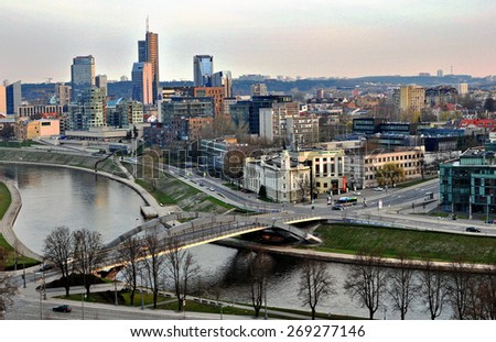 VILNIUS, LITHUANIA - APRIL 12: Top view of Vilnius downtown on April 12, 2015. Vilnius is the capital and largest city of Lithuania.