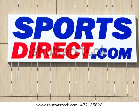 VILNIUS, LITHUANIA - AUGUST 7, 2016: Sports Direct logo. Sports Direct International plc is a British retailing group. Sports Direct is sports-goods retailer and operates roughly 670 stores worldwide.