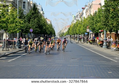 VILNIUS, LITHUANIA - AUGUST 23: Velo marathon in Vilnius town center Gediminas street on August 23, 2015, Vilnius, Lithuania.