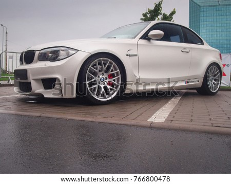 VILNIUS, LITHUANIA AUGUST 21, 2017: White BMW 1M In The Rain.