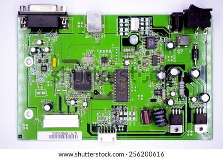 VILNIUS, LITHUANIA - FEBRUARY 3: Printed circuit board in private collection on February 3, 2015, Vilnius, Lithuania.