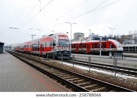 VILNIUS, LITHUANIA - FEBRUARY 15: Train station in capital of Lithuania Vilnius city on February 15, 2015, Vilnius, Lithuania.