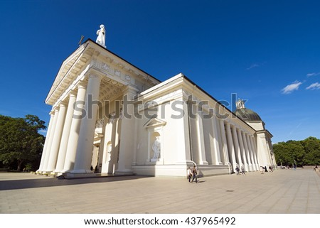 VILNIUS, LITHUANIA - JUNE 7, 2016: People at the Cathedral Square near the Cathedral of Vilnius
