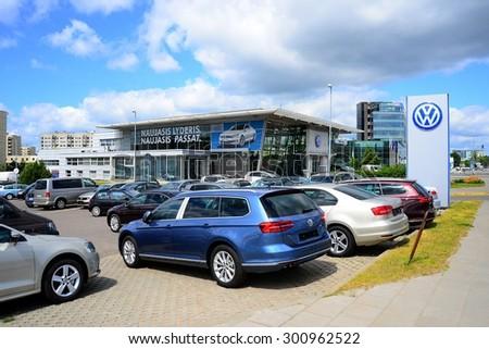 VILNIUS, LITHUANIA - JUNE 26: Wolkswagen shop center in Vilnius city Ukmerges street on June 26, 2015, Vilnius, Lithuania. - stock photo