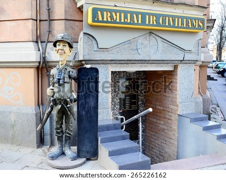 VILNIUS, LITHUANIA - MARCH 14: Military and civil clothes shop exterior and advertising on March 14, 2015, Vilnius, Lithuania. - stock photo