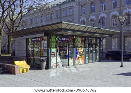 VILNIUS, LITHUANIA - MARCH 13, 2016:  New  booth of a distribution network where sell the press, coffee, cigarettes, drinks and fast food. In Lithuania 35 Narvesen shops work - stock photo