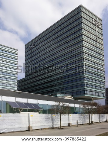 VILNIUS, LITHUANIA - MARCH 27, 2016:  The solar panel for generation of bio electricity is used at construction of new office DNB bank  Bank has approx. 3,100 employees and 930,000 customers