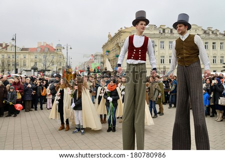VILNIUS, LITHUANIA - MARCH 8: Unidentified peoples parade in annual traditional crafts fair - Kaziuko fair on Mar 8, 2014 in Vilnius, Lithuania - stock photo