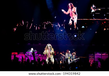 VILNIUS, LITHUANIA - MAY 21: American rock band Aerosmith performs on stage during their Global Warming World Tour concert on May 17, 2014 in Vilnius, Siemens Arena, Lithuania.