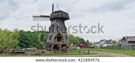 VILNIUS, LITHUANIA - MAY 15, 2016: New museum of a old agricultural equipment, tools and buildings in the territory of an old windmill. Pilaitie - the most forest and rural district of the Vilnius. - stock photo