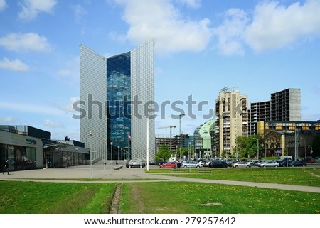 VILNIUS, LITHUANIA - MAY 12: Vilnius city Konstitucijos street with skyscrapers on May 12, 2015, Vilnius, Lithuania.
