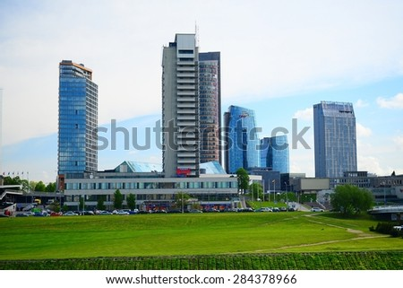 VILNIUS, LITHUANIA - MAY 12: Vilnius city view from Neris river board on May 12, 2015, Vilnius, Lithuania.