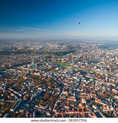 VILNIUS, LITHUANIA - OCTOBER 18: Aerial View of Vilnius Old Town, river Neris on Oct. 18, 2014 in Vilnius, Lithuania. Vilnius is known for its Old Town of beautiful architecture, declared a UNESCO World Heritage Site. - stock photo